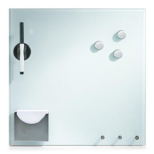 Zeller 11670 Memoboard mit Haken u. Zettelhalter, Glas, weiß