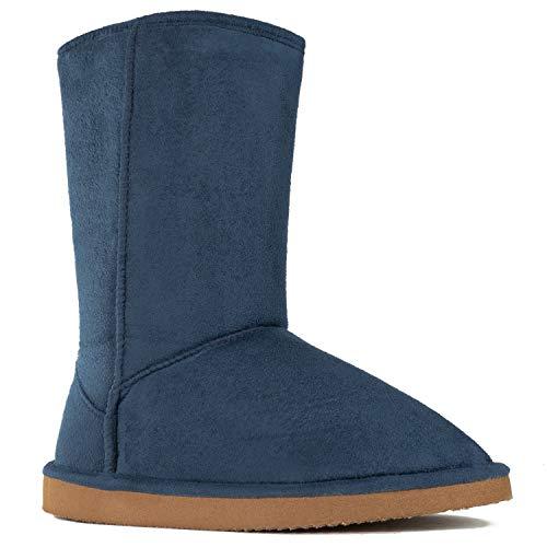 RF ROOM OF FASHION Women's Vegan Shearling Fur Lined Hidden Pocket Mid-Calf Snow Winter Boots Navy Suede (No Pocket) SIZE5.5