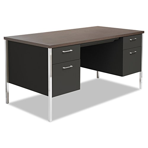 Alera Desk - Alera ALESD6030BM Double Pedestal Steel Desk, Metal Desk, 60w x 30d x 29-1/2h, Walnut/Black