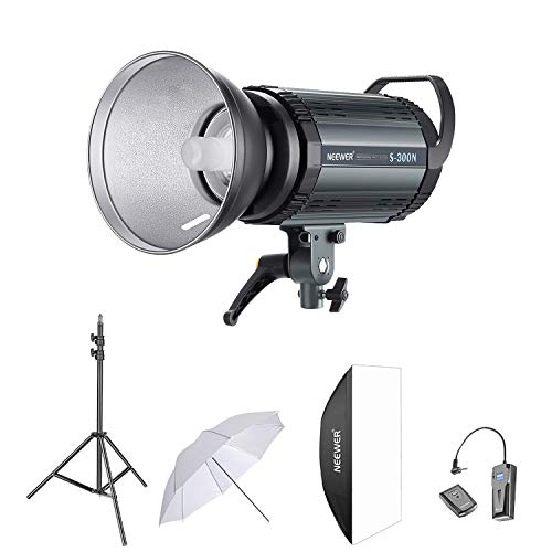 Neewer 300W Studio Strobe Flash Photography Lighting Kit:(1) S-300N Monolight,(1)Reflector Diffuser,(1)Softbox,(1) 33 Inches Umbrella,(1)RT-16 Wireless Trigger,(1)Light Stand for Shooting Bowens Mount