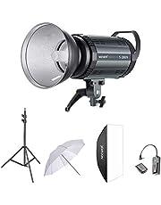 Neewer 300W Studio Strobe Blitz Fotografie Studioset: (1)S-300W Monolicht, (1)Lampeschatten, (1)Softbox, (1)84cm Studioschirm, (1)RT-16 Drahtloser Auslöser,(1)Lichtstand für Aufnahme Bowens Montage