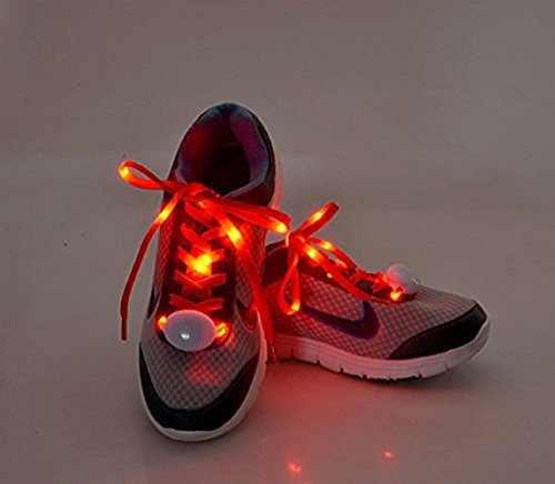 (Flammi LED Nylon Shoelaces Light Up Shoe Laces with 3 Modes in 5 Colors Disco Flash Lighting The Night for Party Hip-hop Dancing Cycling Hiking Skating-Type C)