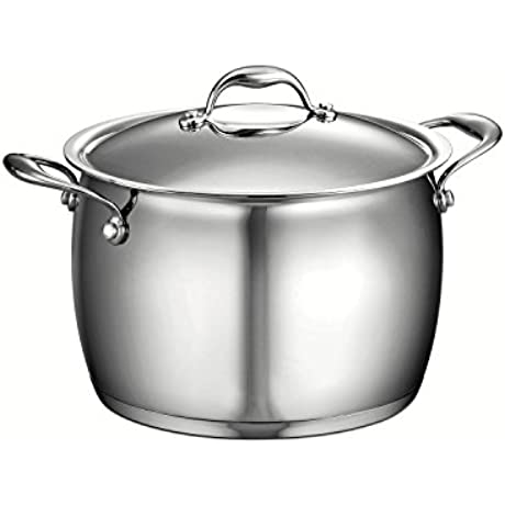 Tramontina Gourmet Domus 18 10 Stainless Steel Tri Ply Base 80102 010DS 8 Qt Covered Stock Pot