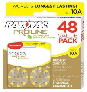 Rayovac Mercury Free Proline Advanced Size 10 Hearing Aid Batteries, Total of 48 Batteries