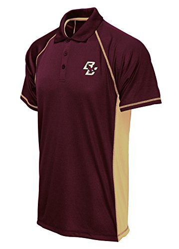 NCAA Boston College Eagles Poly Polo with Panels, Maroon/Gold, Large (Gold Large Eagle)