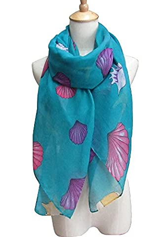 Women's Fashion Style Shawl Sea Shell Printed Spring Summer Scarves Girls Gift (One_Size, Turquoise)