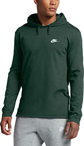 Nike Mens Jersey Lightweight Pullover Hoodie(Fir/White,Large)