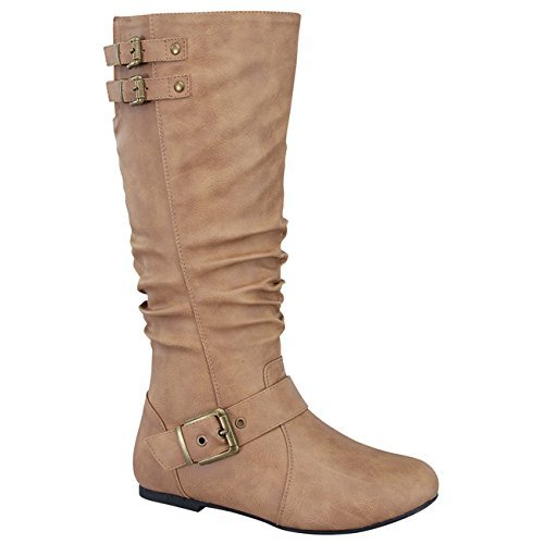 Top Moda Night-76 Women's Slouched Under Knee High Flat Boots, Taupe 9