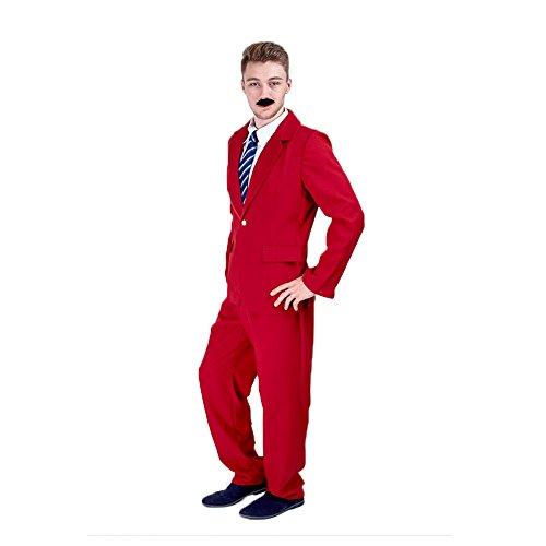 Charm Rainbow Men's Red Suit Single Breasted for Party Jacket & Trousers(XL)