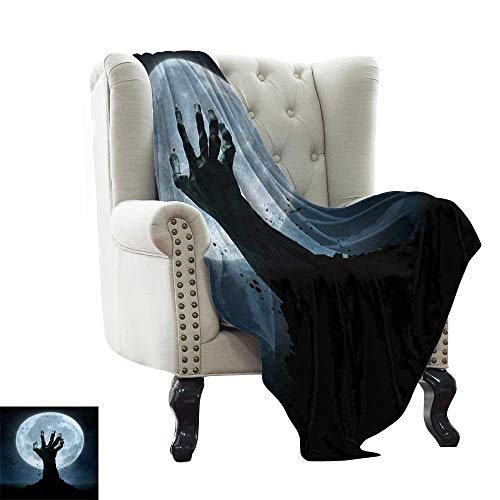 Anyangeight Halloween,Digital Printing Blanket,Realistic Zombie Earth Soil Full Moon Bat Horror Story October Twilight Themed 70