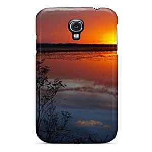 NikRun Scratch-free Phone Case For Galaxy S4- Retail Packaging - Amazing Sunset Over A Marsh