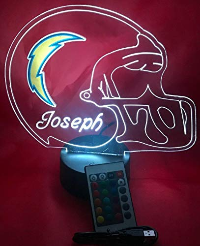 Los Angeles Chargers NFL Light Lamp Light Up Hand Crafted Football Helmet Table Lamp LED with Remote, Personalized - It's Wow, with Remote 16 Color Options, Dimmer, Free Engraving, Great Gift