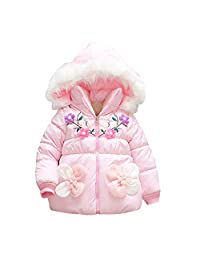 Tenworld B Baby Girls Winter Warm Puffer Coat Cloak Jacket Hooded Outerwear 6M-24M