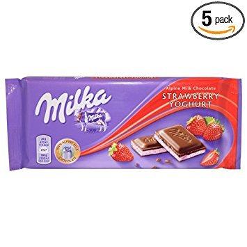 Milka Strawberry Yoghurt Milk Chocolate Bar, 100g (Pack of 5)