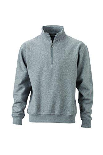 Montant De heather Et Col Travail zip 2store24 Sweat Demi Zip shirt Avec Grey wA07TIq