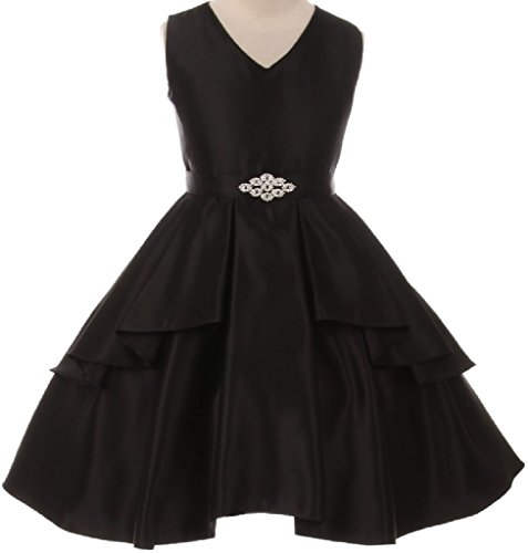 Little Girls Solid Dull Satin Overlays Brooch Sash V Neck Flowers Girls Dresses Black 4 (G35G71)