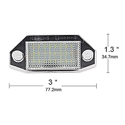 2 x LED License Number Plate Lights Rear Lamps LED Universal for Ford Mondeo MK3 4/5D 2000-2007 Tail Rear Lamp Waterproof: Automotive