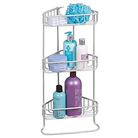 mDesign Repisa para baño - Esquinero autoportante con 3 baldas para baño - Estanteria para baño para guardar champú, jabón y más - Aluminio color plateado: ...