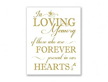Amazon.com: In Loving Memory - Placa de boda con mensaje en ...