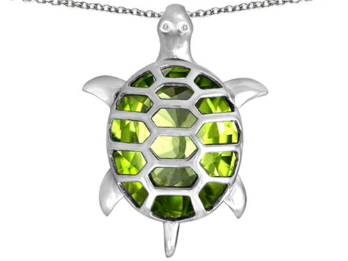 Star K Good Luck Turtle Pendant Necklace with Oval Simulated Peridot and Cubic Zirconia Sterling Silver