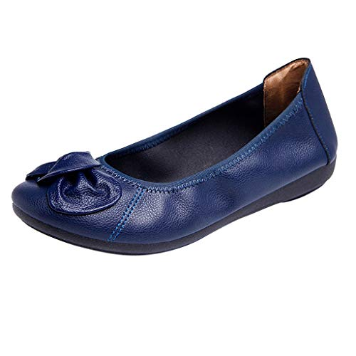 (Aunimeifly Womens Moccasins Shoes Casual Lightweight Knot Flat Slip On Sandals Solid Color Soft Loafers Dark Blue )