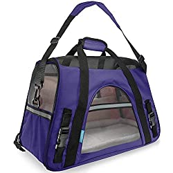 Paws & Pals Airline Approved Pet Carrier - Soft-Sided Carriers for Small Medium Cats and Dogs Air-Plane Travel On-Board Under Seat Carrying Bag with Fleece Bolster Bed for Kitten Cat Puppy Dog Taxi