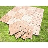 Build4eco - Century Outdoor Living DIY Outdoor Deck Tile Patio Composite Decking Tile Redwood 4 Slate Style (12-inch X 12-inch 10 Tiles)