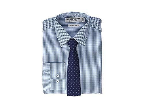 - Nick Graham Men's Stretch Modern Fit Gingham Dress Shirt and Dot Tie Set, Blue, L-R 16-16.5/32-33