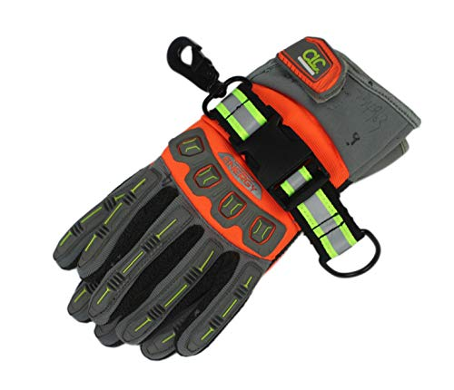 MeloTough Firefighter Glove Strap | Glove Holder with Glove Leash Swivel Snap Hook,Reflective Hi-Vis Lime for Quick Access