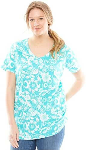 Women's Plus Size Perfect Print Cotton V-Neck With Shirring