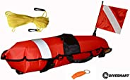 DiveSafe Torpedo Buoy Float for Scuba Diving, Spearfishing, Free Diving, Snorkeling and Swimming - Includes 11