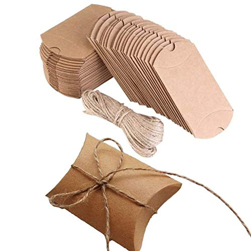 Kraft Box, 50 PCS Pillow Wedding Candy Boxes, 3.5