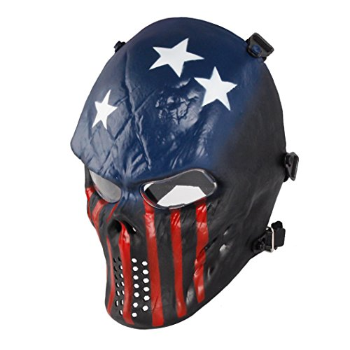 Skull Skeleton Full Face Airsoft Mask with Clear Lens Army Fans Supplies M06 Tactical Mask for Halloween BB Paintball Gun CS Game Cosplay and Masquerade Party -