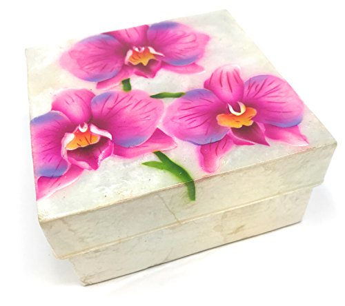 Kubla Craft Pink Orchids Capiz Shell Keepsake Box, 4 Inches Square