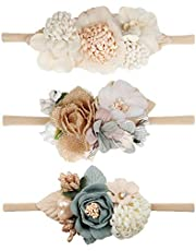 Baby Girl Nylon Headbands Infant Flower Elastic Hair band Bows Wraps For Newborn Toddler Hair Accessories Pack of 3