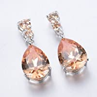 jindarat Women Fashion 925 Silver Morganite Stud Drop Dangle Earring Wedding Jewelry New