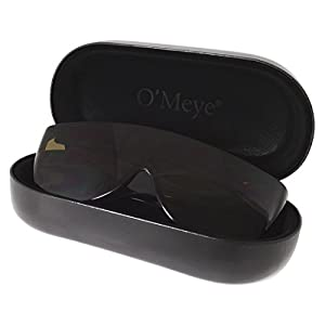 Extra Large Hard Eyeglass & Sunglasses Case for Fit Over / Safety Glasses - 3 Piece Set For Men & Women - O'Meye® Case, Pouch, Premium-Lens® Microfiber Cleaning Cloth (Model MS87-MAX, Black)