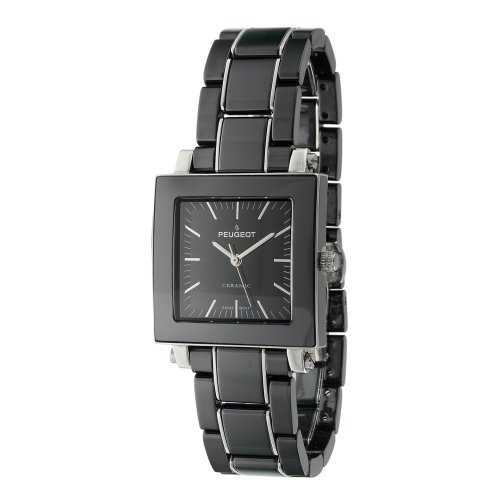 Peugeot Women's PS4888BK Square Black Ceramic Bracelet Watch
