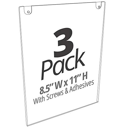 (Mammoth Thick & Durable Acrylic Paper Sign Holder with Screws and Adhesive Tape for Wall Mount, for US Letter 8.5 x 11 Inches, 3 Pack (Portrait 3 Pack))