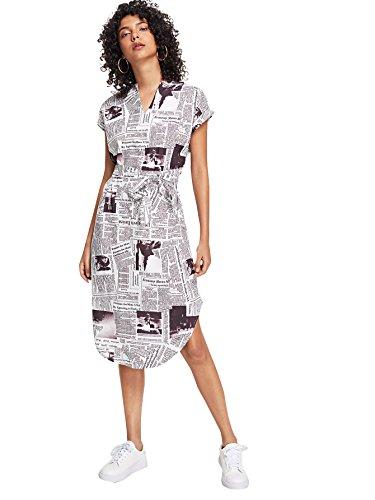 MAKEMECHIC Women's V Neck Geometric Print Colorblock Slit Belted Midi Dress Multi M