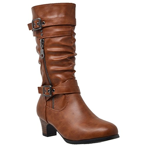 Brown Zip Low Shoes Buckle Calf Up Straps Adjustable Kids Heel Boots Mid Double xw70AHzOqp
