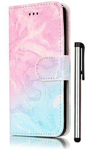 iPhone SE Case,iPhone 5S Case,iPhone 5 Case Wallet PU Leather Magnetic Flip Cover 2 Credit Card Slots Holders with Desk Stand - Fashion Pink Green Marble Pattern