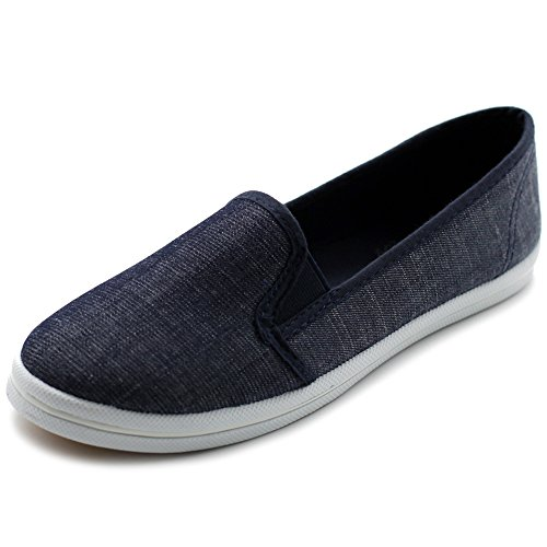 Ollio Damesschoenen Casual Slip Op Sneakers Canvas Flats Indigo