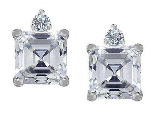 Star K 7mm Square Cut Genuine White Topaz Earrings Studs Sterling Silver (Topaz Prong White Star)