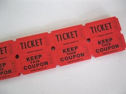 amazon com 100 red 50 50 double stub raffle tickets ticket rolls