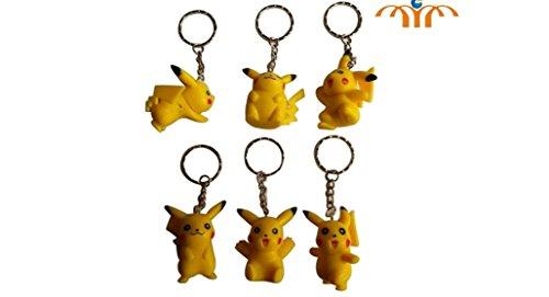 Pokemon Pikachu Figure Keychain 6 pc Set (Pokemon Backpack Clip)