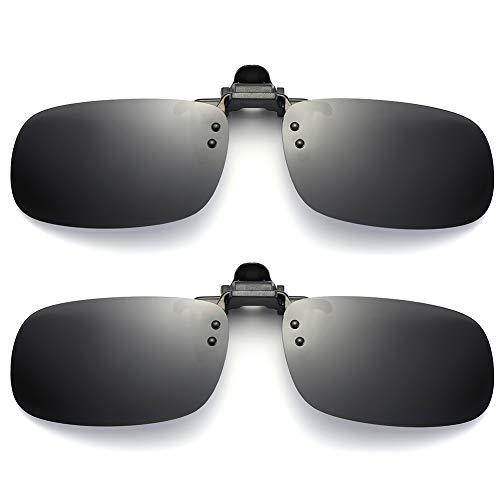 SUNINC Clip On Sunglasses Over Prescription Glasses Polarized Lens Flip Up Shades Driving Sunglasses for Men Women Grey Lens Small Size 2 Pieces of ()