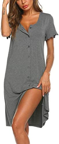 Ekouaer Women's Nightshirt Short Sleeve Button Down Nightgown V-Neck Sleepwear Pajama Dress