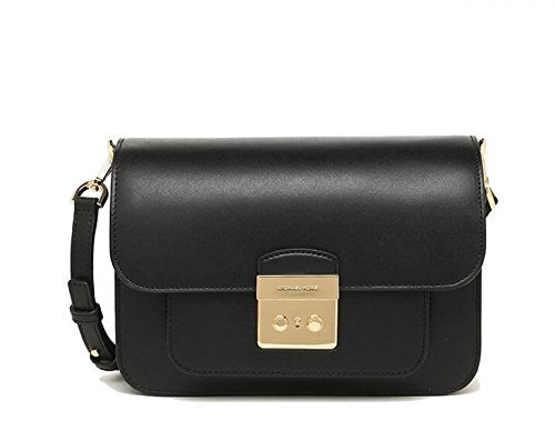 Michael Kors Womens Sloan Editor Shoulder Bag Black (Black) - Gold Tone Hardware Lock