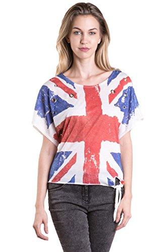 Fits Cloth Women's Multi English Moment Union Jack Flag Graphic Tee Medium